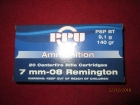 Cartouches PPU Cal 7mm-08 Remington